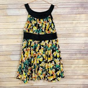 French Connection Black Yellow Floral A-Line Dress